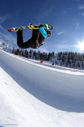 Der Snowpark im Skigebiet Nassfeld in Kärnten