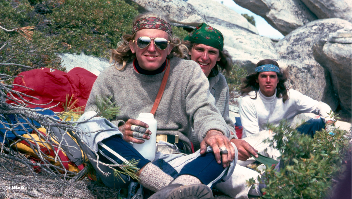 small_John-Bachar,-Mike-Graham,-Ron-Kauk-top-of-El-Capitan's-Shield-route-1976-ph-Mike-Graham
