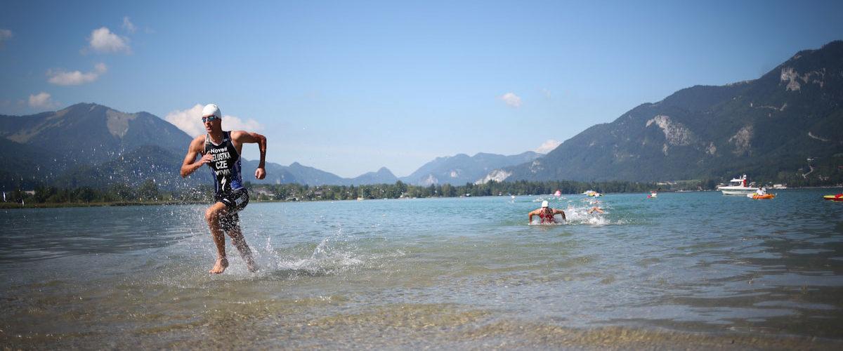 Wolfgangsee Challenge Ausstieg Wasser