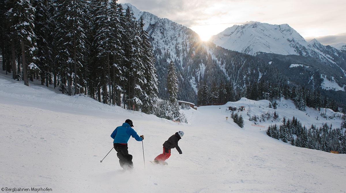 Skifahren zu zweit