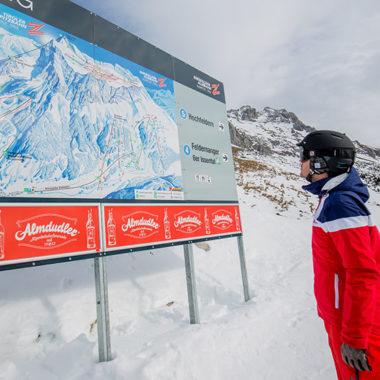 Überblick im Skigebiet Ehrwald