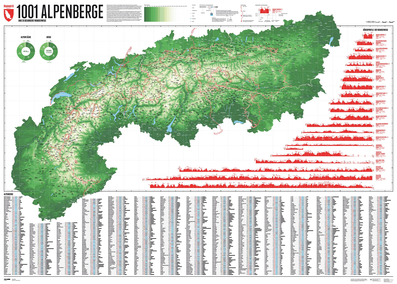 Marmota Map Alpenkarte Mit 1001 Bergen 20 Wanderungen