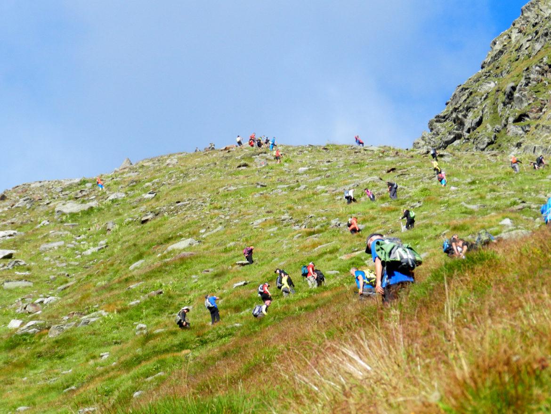 Steiler Aufstieg beim Steinbockmarsch.
